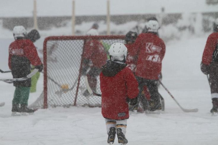 Kids playing hockey in Peterborough, Ontario!