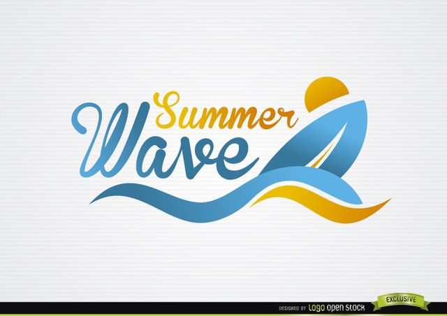 This Logo Shows A Surfing Board The Sun And Some Waves Of Beach All In Simple Abstract Style It Also Has Written Summer Wave With Cool Italic Lett