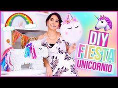 DIY DECORACIÓN PARA FIESTA DE UNICORNIO: Piñata, globos y cajitas de snacks ♥ Jimena Aguilar - YouTube