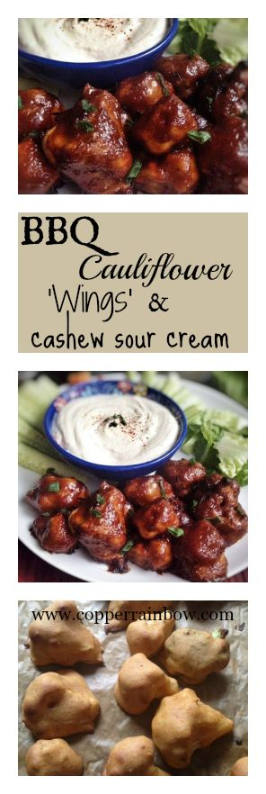 Sweet, smoky, sticky vegan BBQ cauliflower & broccoli 'wings' with a cool cashew sour cream dip, perfect lunch or party idea