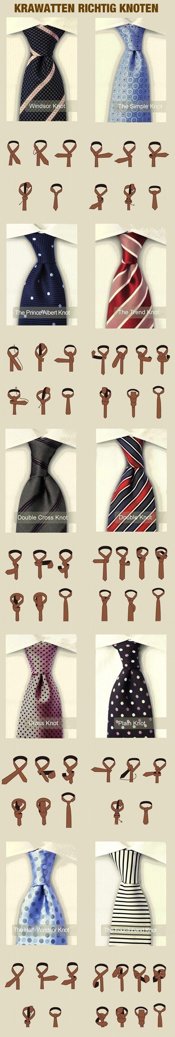 Infografik: Krawatten richtig knoten Wer mit der Bindetechnik der verschiedenen Krawattenknoten noch nicht so vertraut ist, kann diese Infografik sehr nützen! Und wer sich lieber ein Video ansieht, um die Bindetechnik zu lernen, kann hier reinschauen: http://youtu.be/AqVjwJbvZpQ (Quelle: karrierebibel.de)