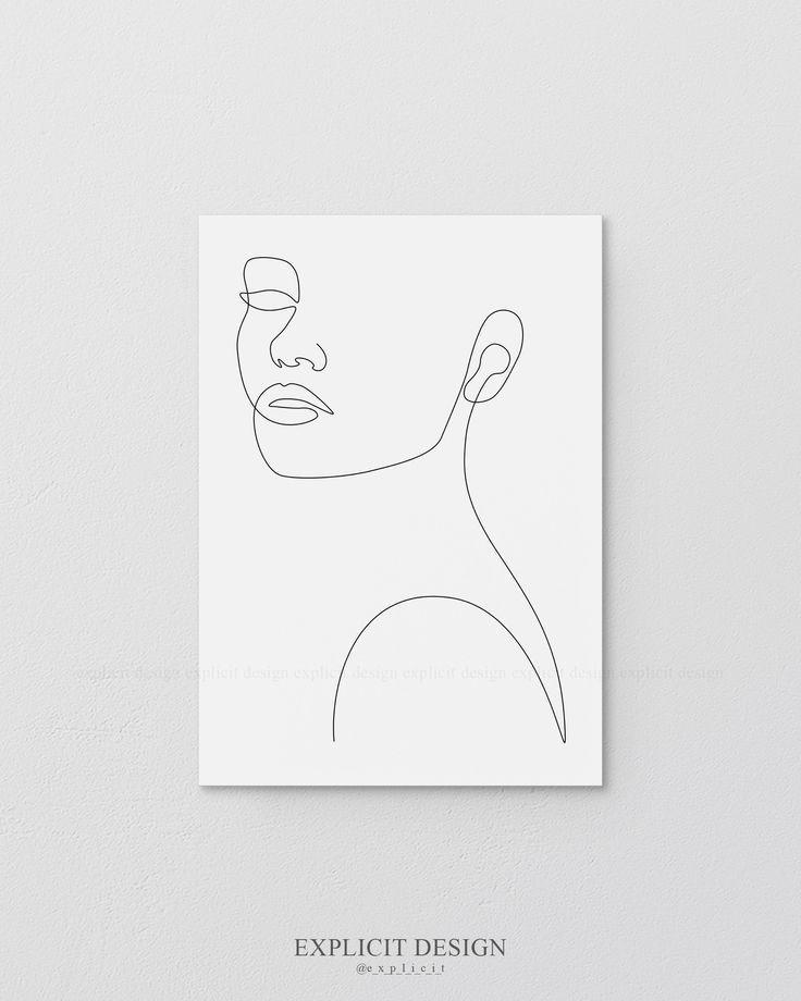Contour de visage imprimable dessin croquis Artwork, femme en une seule ligne, noir et blanc Femal …