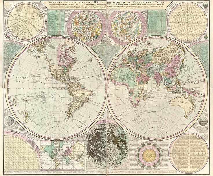 20 best antique world maps images on pinterest antique maps old antique world map by carington bowles circa 1780 postcard gumiabroncs Image collections