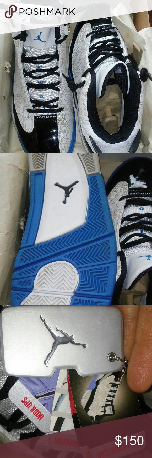 Air jordan dub zero White black and photo blue used few times like new Air Jordan Shoes