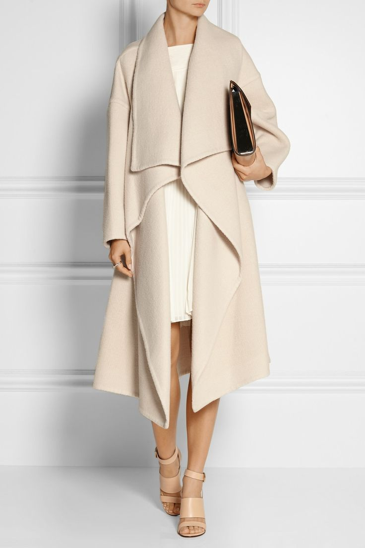 CHLOÉ Draped alpaca-blend coat MARNI File leather clutch GIVENCHY Sara sandals in beige leather ALICE BY TEMPERLEY Rose pleated georgette mini dress