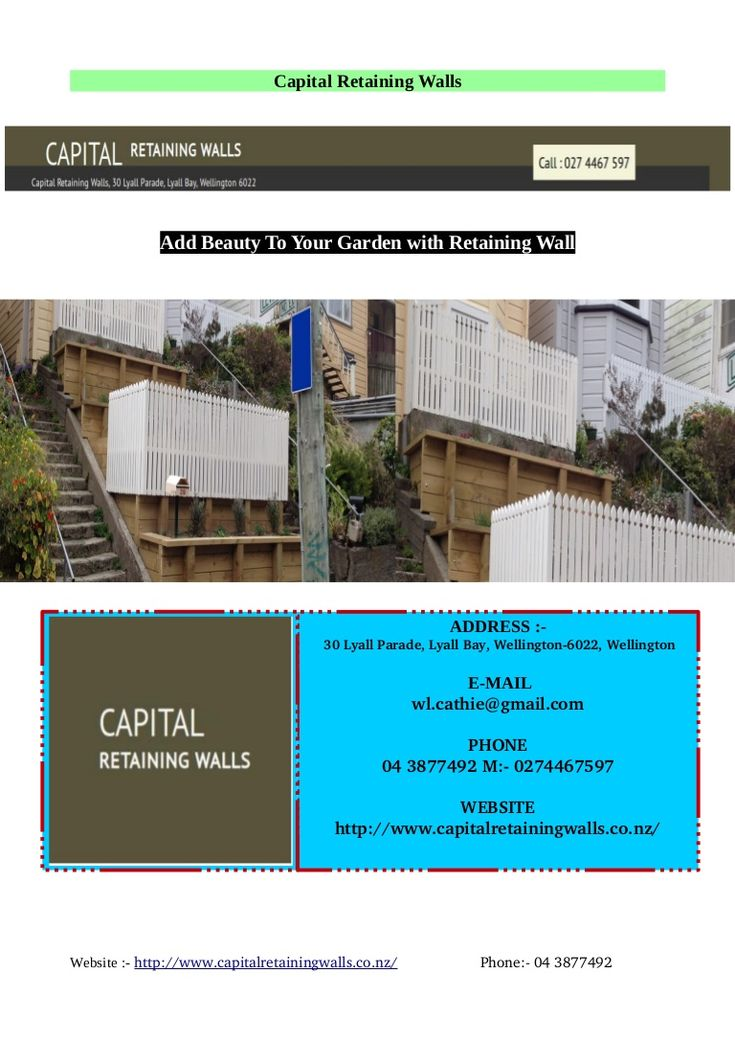 Capital Retaing Walls Established with over 30 years experience, you know we will have your job done right the first time. All our work comes with 100% satisfaction guaranteed. we specialists in Timber Post and Plank Walls, Concrete Block Walls, Timber Crib Walls, Half Round Walls, Landscape Walls, Timber Decks, Retaining Wall Contractors etc