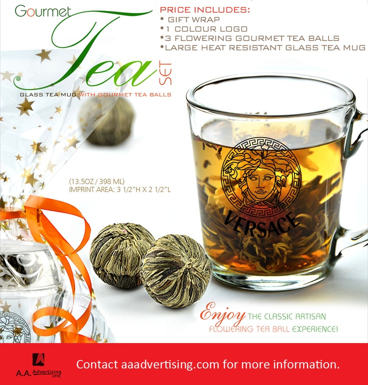 Glass tea mug with 3 flowering tea balls
