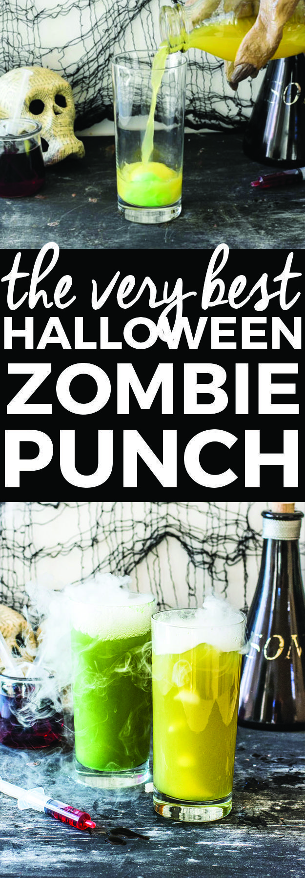 Halloween Zombie Punch Recipe   halloween recipes, halloween punch recipes, halloween drink recipes, family friendly halloween drinks, non-alcoholic halloween drinks, halloween party recipes, zombie recipe ideas, #halloweendrinks    The Butter Half via @thebutterhalf