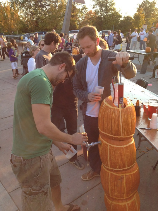 A keg made out of pumpkins! How cool is that? Gives a whole new meaning to pumpkin ale.