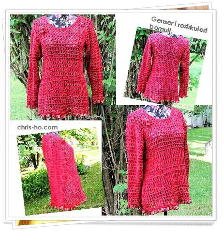 Rød genser i resirkulert bomull str. 38 - 42 - Chris-Ho.com