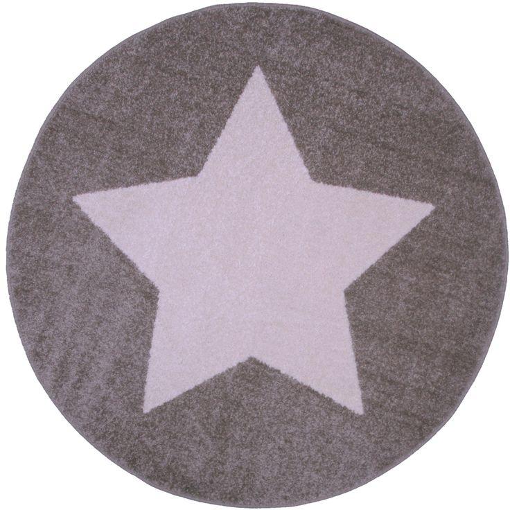 tapis rond star taupe et beige diamtre 120 cm pour mettre sur le trampoline - Tapis Rond Color