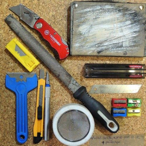How to sharpen pastel pencils, a selection of sharpening tools