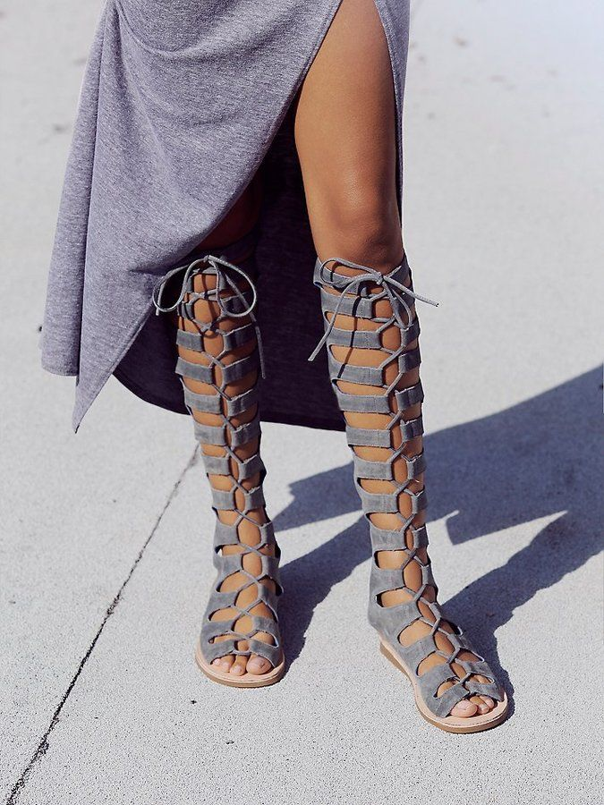 8eb25f77b32 Gray suede lace up sandals