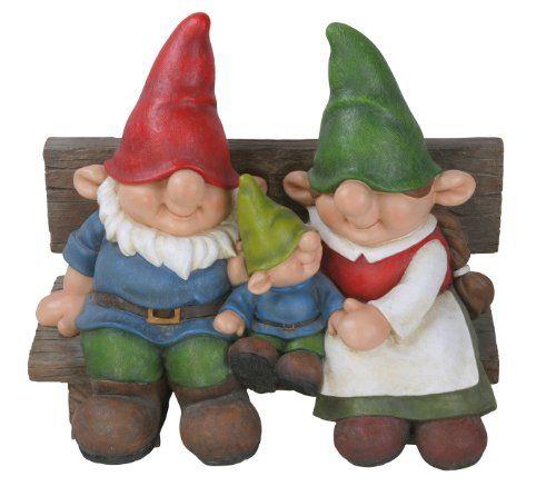 Gnome In Garden: Vivid Arts Playful Gnome Family On Bench Vivid Arts Ltd