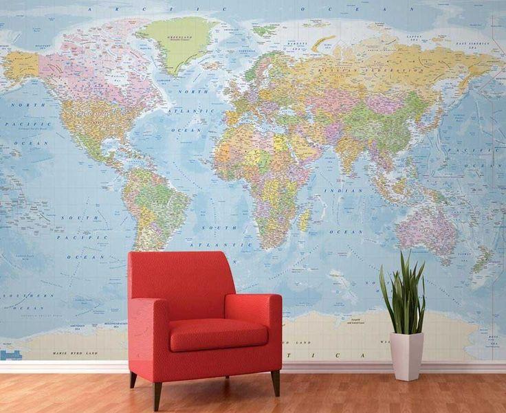 Fotobehang Gedetailleerde wereldkaart - Reizen en wereldse sferen   Muurmode.nl