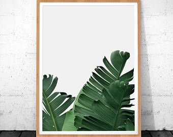 Impresión de hoja de plátano, impresión de hoja, hoja de Palma, cartel Tropical, descarga Digital, decoración de la pared de hoja, impresión del arte Tropical de la palma, palmera impresión arte