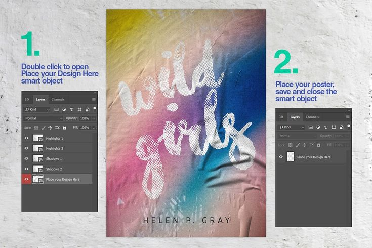 Glued Poster Mockup Collection Poster Mockup Poster Paper Texture