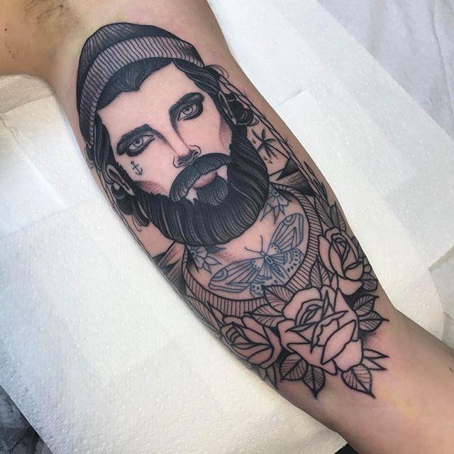 As far as I got on Katie today thanks WIP. @thetallonco @blackgardentattoo #tattoo #tattoos #sailor #fisherman #tatsontatsontats #beard #london #londontattoo #instagood #instadaily #wip