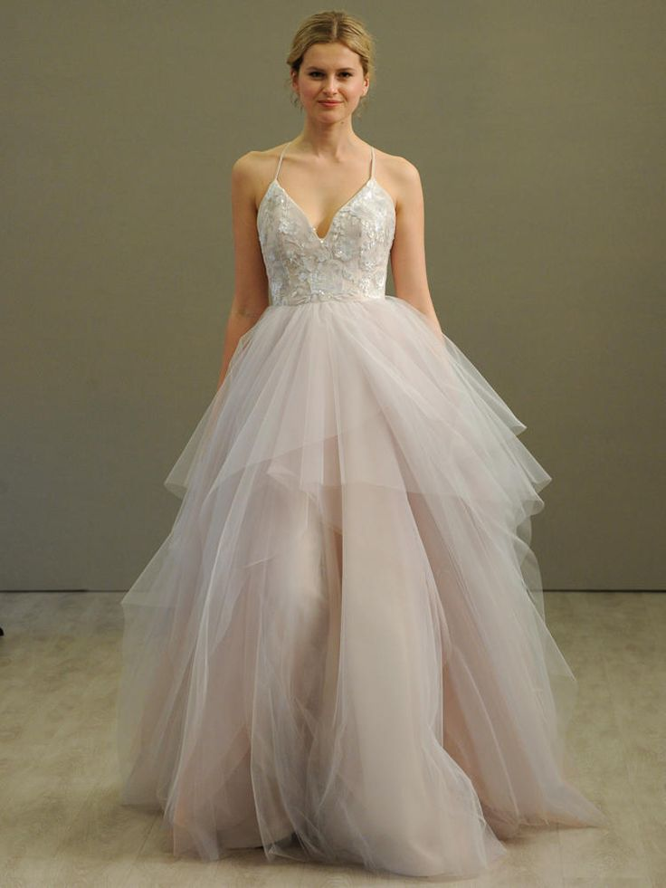 Hayley Paige alabaster tulle ball gown wedding dress with floral beaded ballet bodice, v-neckline and spaghetti straps with crosscross at back, full tiered tulle skirt