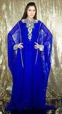 DUBAI VERY FANCY KAFTANS abaya jalabiya Ladies Maxi Dress Blue New Wedding gown