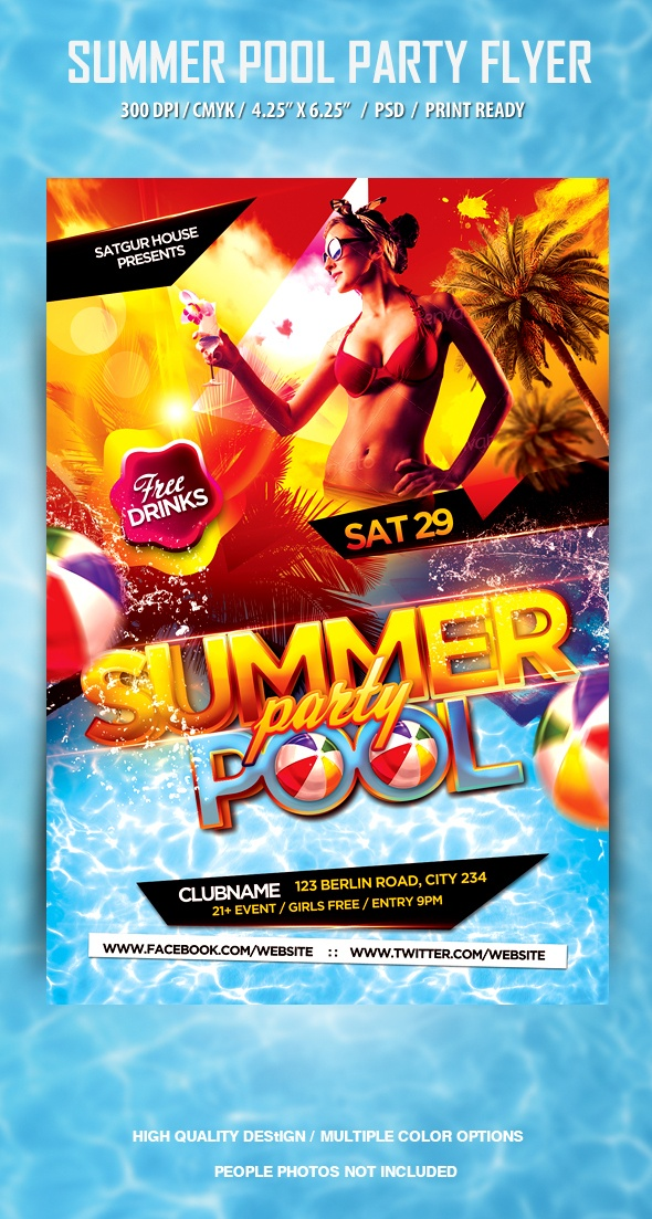 Pool and Beach Summer Party Flyer by satgur , via Download psd file: http://graphicriver.net/item/pool-and-beach-summer-party-flyer/4671699