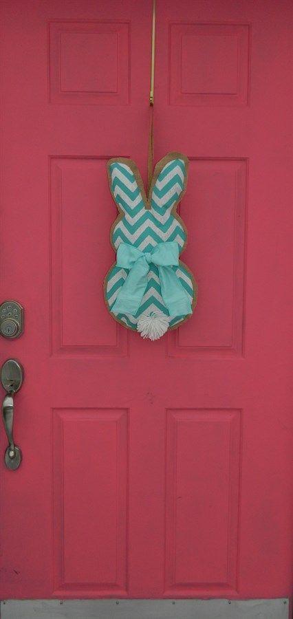 Chevron Burlap Bunny Wall- Door Hanging - 3 Color Options