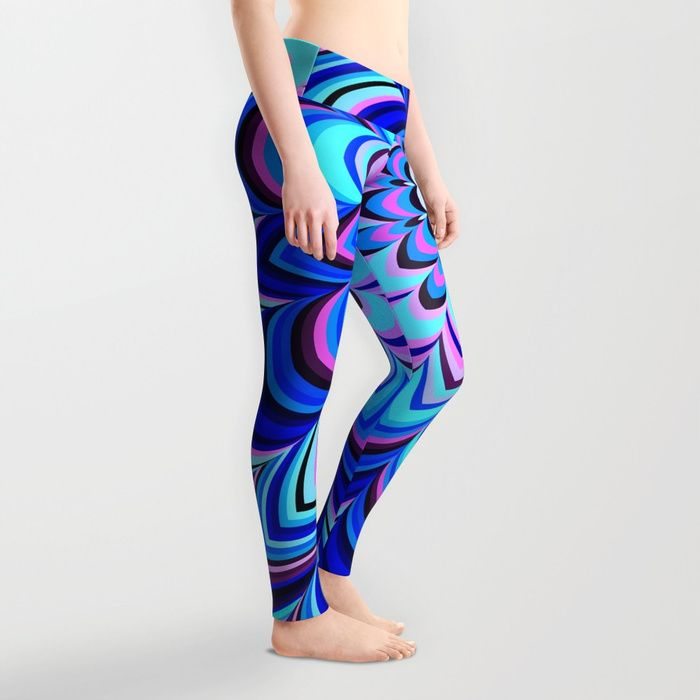 Neon blue striped mandala by Natalia Bykova Leggings on Society6. #neonblue, #blue, #legs, #leggings, #Society6, #printedleggings, #uncommonleggings, #unusualleggings, #blueleggings