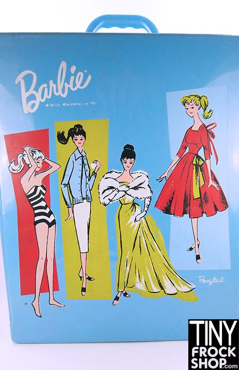 This is a fabulous vintage Barbie doll case. The trunk is blue vinyl with glamorous Barbie ponytail illustrations on front. The case is PACKED with GOODIES!!! Comes with a fully dress and restyled My