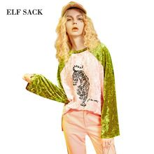 ELF SACK 2017 Spring Women Color Blocking Long Sleeve Velvet Shirts Round Neck Tiger Printed Patchwork Casual Pullovers Tops(China (Mainland))
