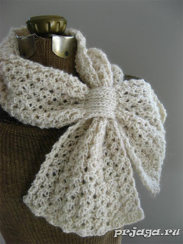 Вязание ажурных шарфов спицами