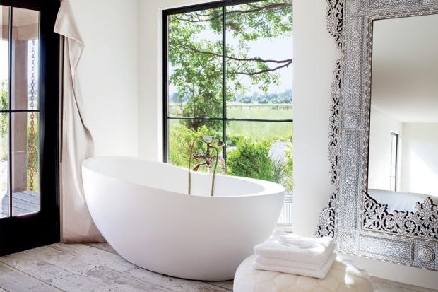 That would truly be a relaxing bath...: Mirror, Bathroom Design, Dreams Houses, Bath Tubs, Floors, Window, Bathtubs, Dreams Bathroom, White Bathroom