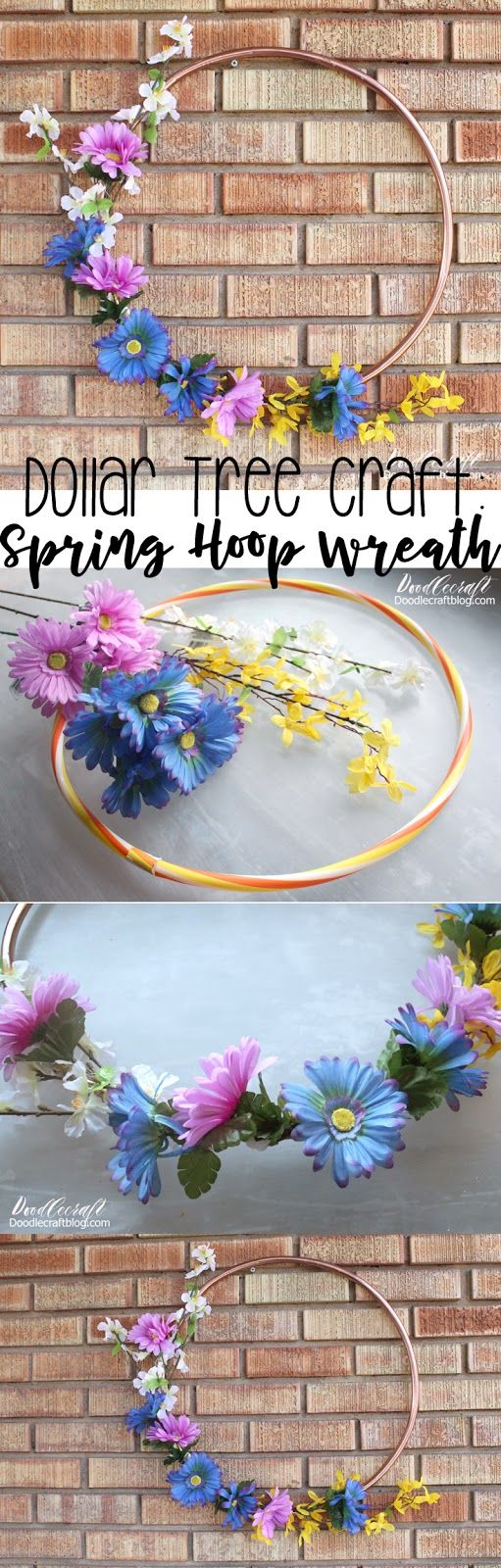 Dollar Tree Crafts: Spring Flower Hoop Wreath DIY