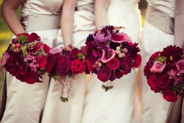 bridesmaids-champagne-gowns-raspberry-red-bouquets - Elizabeth Anne Designs: The Wedding Blog