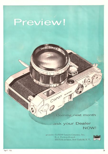 Canon camera advertisement, 1956 http://photocameracamcorders.com/tag/canon/