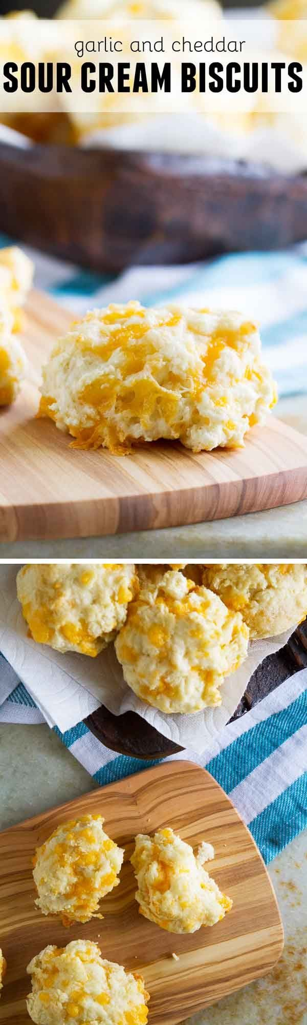 Light and fluffy, these Garlic and Cheddar Sour Cream Biscuits are a cinch to throw together and are done in less than 30 minutes.