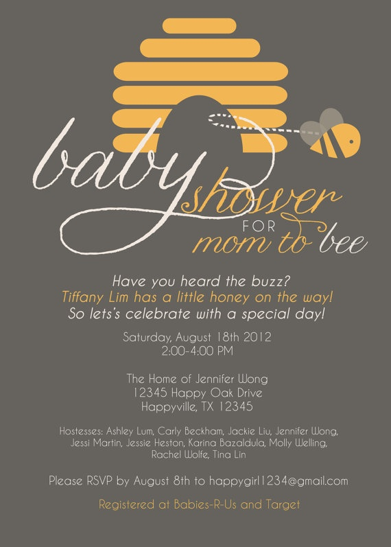 I Design You Print 5X7 Mom to Bee Baby Shower by redrobedesigns, $20.00