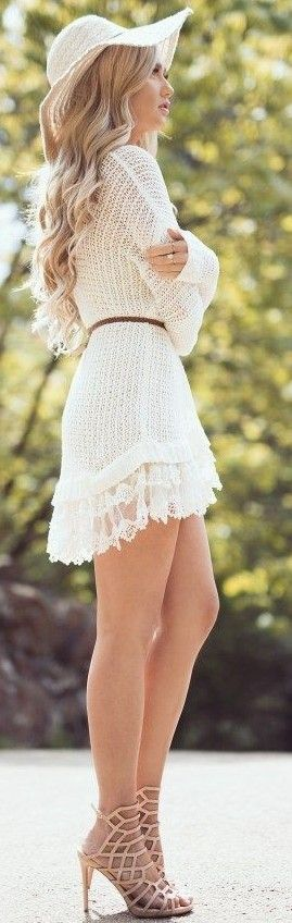 #summer #elegant #outfits | Romantic Little White Dress