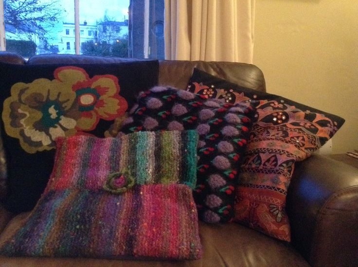 Cushions made from old dresses and jumpers.