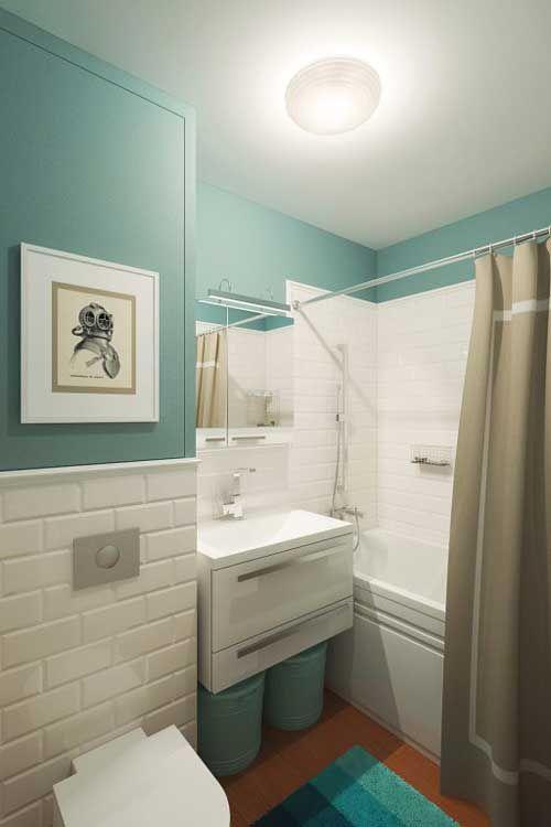 Подвесная раковина и унитаз из IKEA в оформлении маленькой ваны