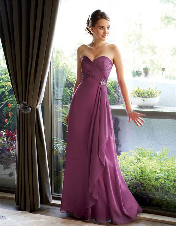 Elegant Long Purple Bridesmaid Dress