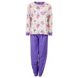 Zacht gekleurde dames pyjama met bloemetjes top en pastelblauwe broek