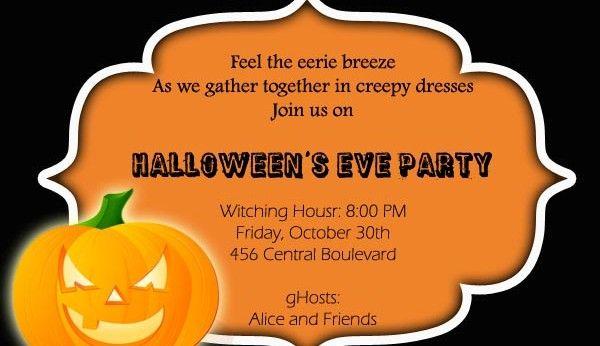 17 best Happy Halloween invitation wordings for parties, office - halloween invitation template