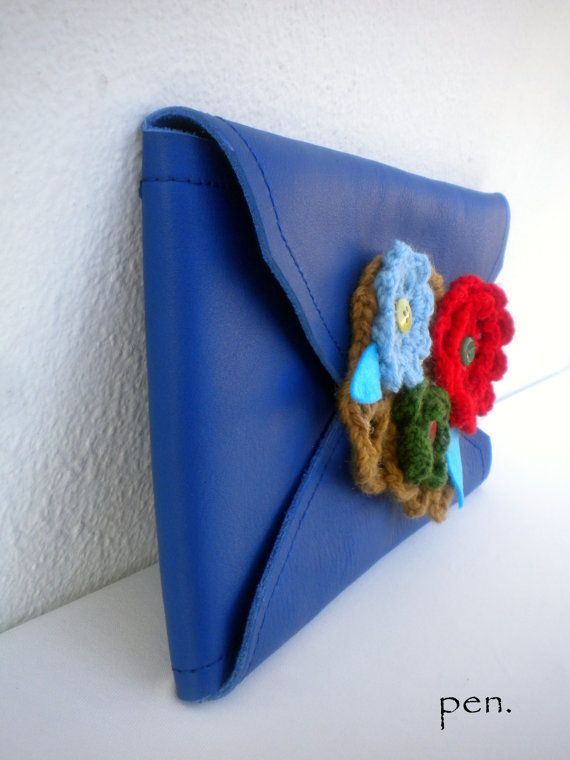 Blue leather clutch with crochet flowersready to ship by penhands, €43.00