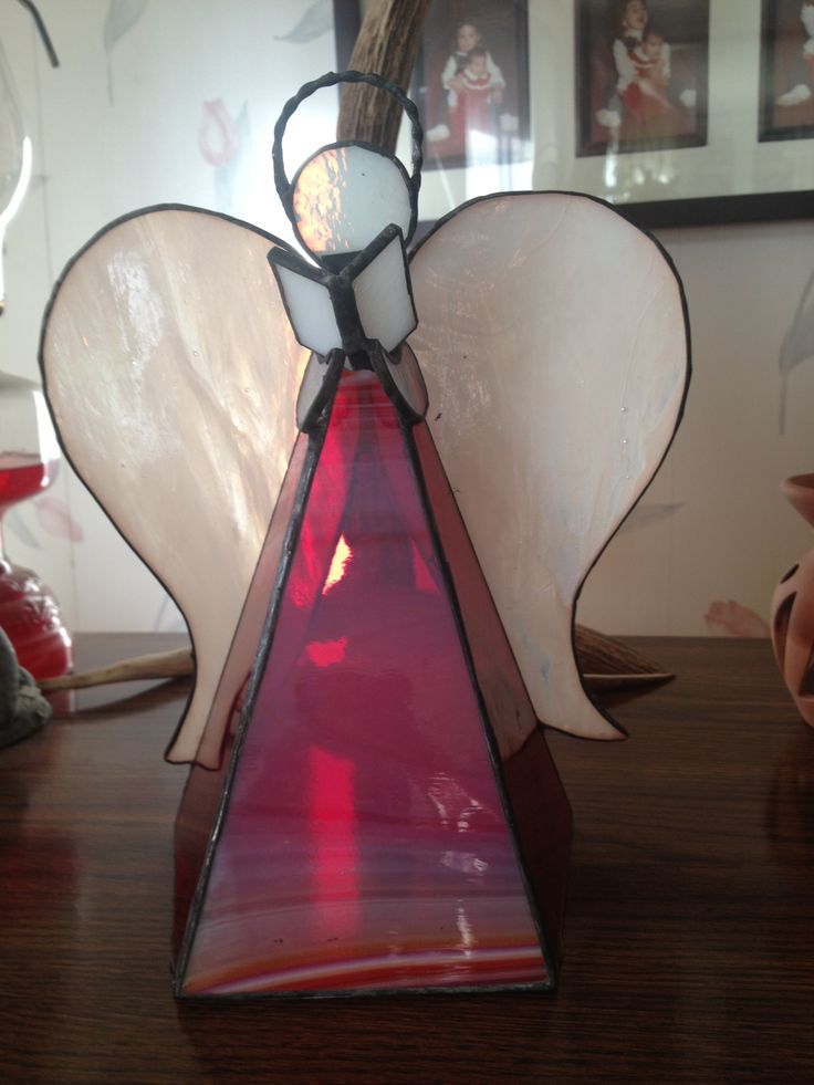 """Christmas Red with White wings 10"""" tall"""