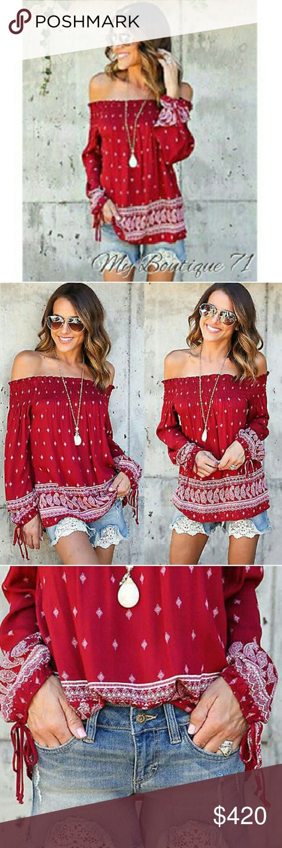 """Coming Soon! $30 The """"Christina"""" Bohemian Off The Shoulder Top in Cherry with Diamond Paisley print. Ties at the cuffs. Long Sleeved. Poly blend Hip Length Pullover Style. See Detailed Size Chart Posted in Photos. All Sales are Final Per Poshmark. Please Read Description and Ask any and all Questions Prior to Purchase. I Want My Customers to be Happy!!Thank you!! Tops"""