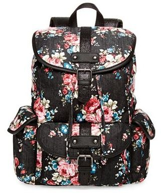 This is a pretty floral backpack which like I have mentioned before is very trendy. This will be a great backpack for those girly girls out there. It is also black which helps is from getting dirty very quickly and makes the flowers pop out more.<3