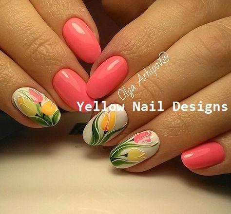 23 große gelbe Nail Art Designs 2019 #nails #naildesigns – Sunny Yellow Nails