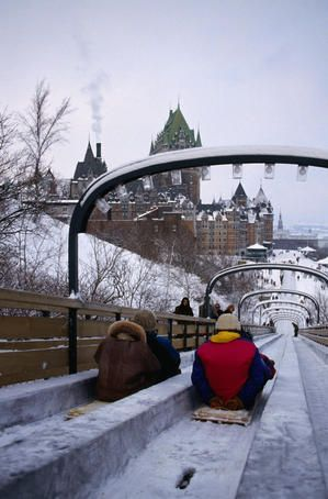 The toboggan slide near the historic landmark Frontenac Hotel in Quebec City, Canada.