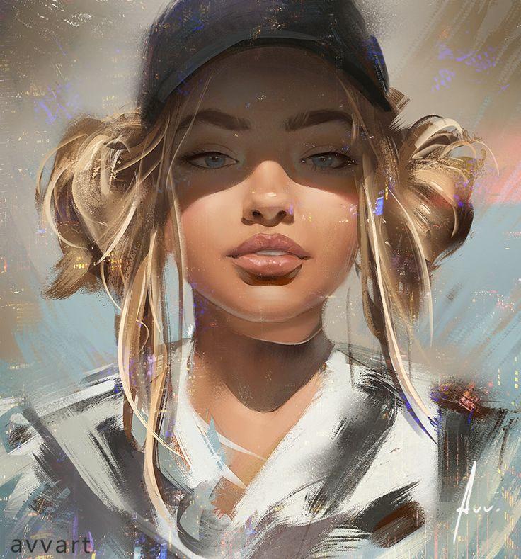 Sophia > awesome expressive brush strokes in this #portrait #art by Aleksei Vinogradov