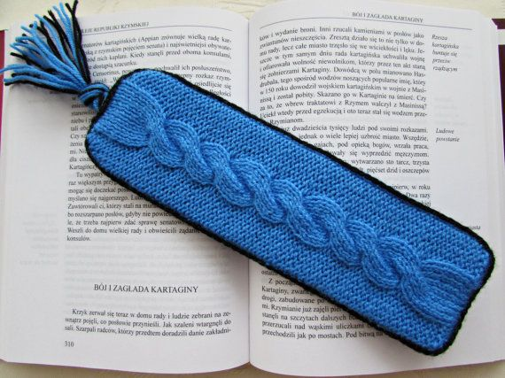 Unique Bookmark Blue Bookmark Stiffened Knit by MyRainbowColors